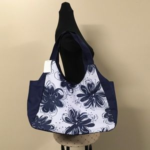 3 Piece Set Navy & White Floral Tote Bag New
